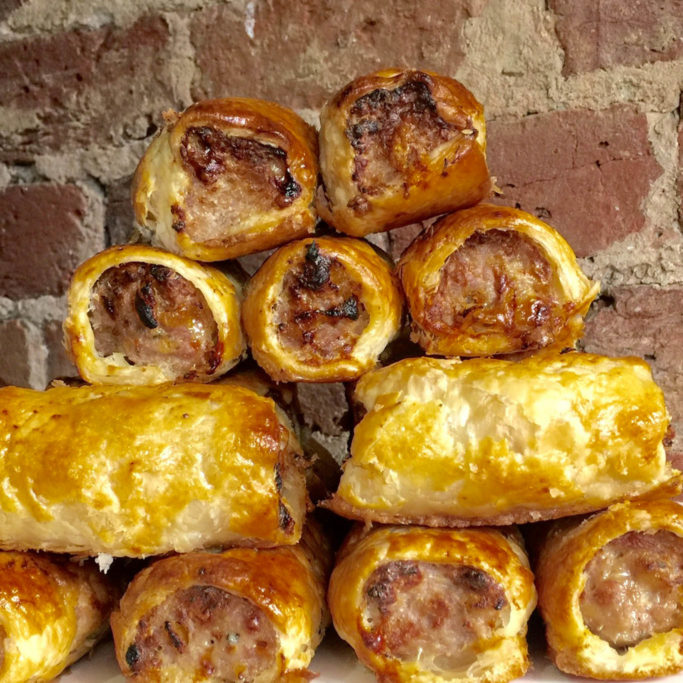Traditional pork sausage rolls