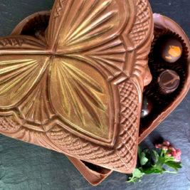 Luxury organic chocolate heart box with fresh chocolates